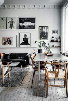 Estilo Vintage y mid-century, espacio de salón-comedor, decoración ...