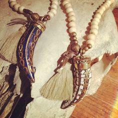 mala necklace with horn tassels and bones #depetrasignature #malanecklace #jewelry #boho #bohemian