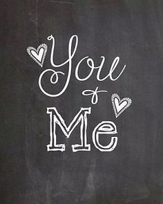 You and Me chalkboard art inspiration. Use Wallies peel-and-stick chalkboard sheets to make an easy framed chalkboard. Just cover a piece of cardboard, sized to frame, with Wallies chalkboard and then pop it into a frame! Chalkboard Lettering, Chalkboard Designs, Chalkboard Quotes, Chalkboard Easel, Chalkboard Drawings, Lettering Art, Chalk It Up, Chalk Art, You And I