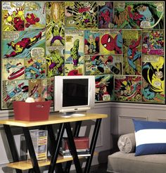 O painel de parede de quadrinhos também é uma ótima opção para decorar o quarto. Com estampa bem colorida, com os heróis favoritos da galera, deixa o ambiente descontraído e divertido. Para os amantes de quadrinhos, é um prato cheio de aventuras!