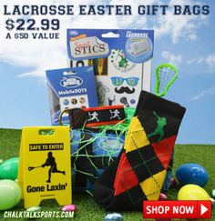 Lacrosse Easter Gift Bag from chalktalksports.com filled with lacrosse goodies!