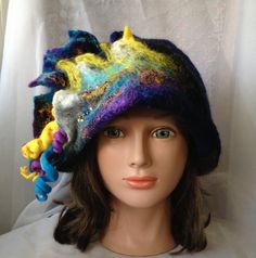 One of a kind designer cloche hat  felted  by Tatiana123 on Etsy, $125.00