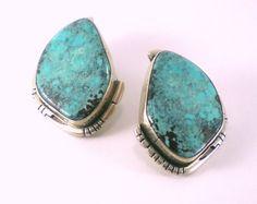 Vintage Turquoise Sterling Silver Pierced Earrings | antiquorama - Jewelry on ArtFire