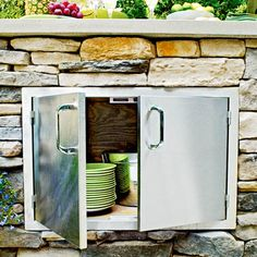 Custom Outdoor Bar With Mini Fridge Storage Cabinet And
