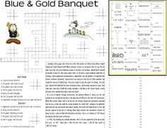 Akela's Council Cub Scout Leader Training: Blue and Gold Banquet Dinner Placemat Preopener Printable Worksheet for the Blue & Gold - Cub Scout Crossword Puzzle - Cub Scout History - Rebus Puzzle