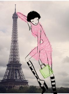 Paris is so rainy!    Rubber ribbon dress by Christopher Kane, boots by Alexander Wang and plexiglass bag by Simone Rocha.