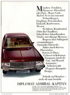 Original-Werbung/ Anzeige 1969 - OPEL DIPLOMAT / ADMIRAL / KAPITÄN - ca. 180 x…