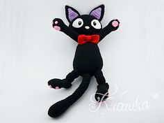 Finished cat is almost 50 cm (19.6 inches) long from ears up to his tail. His bow tie is removable, it can be detached for every day usage and attached again for a special occasions - like Halloween that is coming so fast :) and what could be a better accessory for a witch than a black cat, that you could cuddle when it gets too scary…