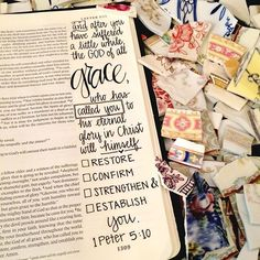 1 Peter Bible journaling God has called you and He will restore you. Bible Study Journal, Scripture Study, Bible Art, Art Journaling, Peter Bible, Bibel Journal, Bible Verses Quotes, Scriptures, Godly Quotes