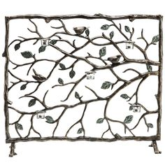 Bird & Branch Firescreen Screen Wonderful aluminum fireplace screen featuring birds & branches with five tea light holders also attached to the exterior frame and sculptured in fashion sure to enhance your room's decor.