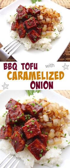 Need a quick and easy dinner the whole family will love? Try this BBQ Tofu with Caramelized Onion, it won't disappoint!