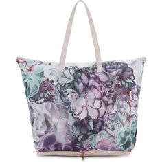 TED BAKER Anyara fold-away shopper ($61) ❤ liked on Polyvore featuring bags, handbags, tote bags, shopping tote bags, foldable shopping bag, floral purse, foldable tote and zip tote