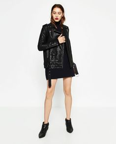 Image 1 of LONG LEATHER-EFFECT JACKET from Zara