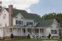 Belle Crest House Plan # 01288, Front Elevation, Farmhouse Style House Plans, Covered Porch House Plans