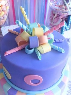 Pretty ribbon cake! #cake