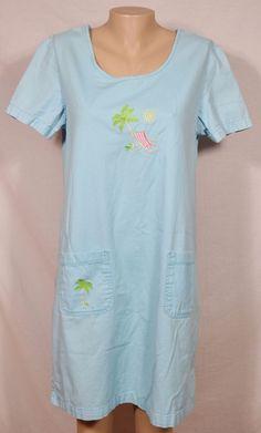 CORAL BAY Light Cyan Blue Shirt Dress Medium Embroidered Palm Tree Beach Chair #CoralBay #Shift #SummerBeach