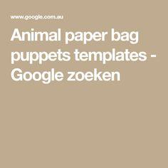 Animal paper bag puppets templates - Google zoeken