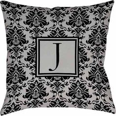 Thumbprintz Damask Monogram Decoratove Pillow, Black and Grey, Gray