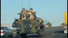 Fully Loaded Military Vehicles On the Move In California, Conditioning o...