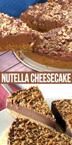 Nutella Cheesecake - easy no-bake cheesecake loaded with Nutella and hazelnut. Creamy, rich, the best Nutella Cheesecake recipe ever, by Nigella Lawson. recipes no bake videos NUTELLA CHEESECAKE Easy Desserts, Delicious Desserts, Yummy Food, Health Desserts, Desserts Nutella, Easy Nutella Recipes, Oreo Dessert Recipes, Cold Desserts, Fun Baking Recipes