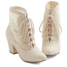 Cream Lace Bootie - Victorian era -inspired. | If the shoe fits.... |... ❤ liked on Polyvore featuring shoes, boots, ankle booties, lacy boots, victorian ankle boots, cream ankle boots, victorian lace boots and victorian booties