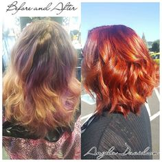 Huge transformation today on one of my favorite clients! From faded out purple to firey red with some copper highlights! Cut into an adorable a line bob! #Angeladoeshair #shampoodollssalon #colortransformation #colorcorrection #olaplex #pravanacolorextractor #pravana #redkenflashlift #tigerreconstruct #alinebob #fireyred #redhead