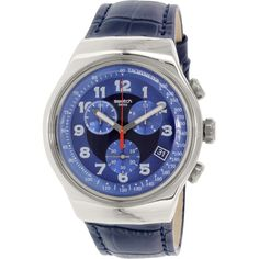 swatch men s irony yes4000 blue leather swiss quartz fashion watch swatch men s irony yos449 blue leather swiss quartz fashion watch