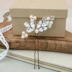 Goddess Pearl And Diamante Leaf Hair Pin