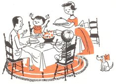 Vintage illustration of a family dinner. Like I remember.