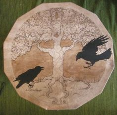 CAW-Some Tree with Corvids!! This looks like a Drum, but I can't be sure and I also don't know the Artist.  :(