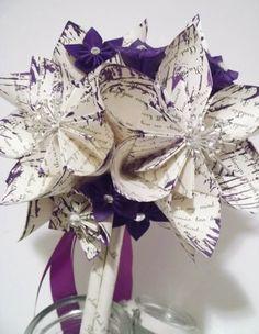 Pretty Beatles sheet music purple flower bridal bouquet with gem burst accents—unique idea/look❣ Danaspaperflowers - ArtFire