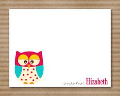 Owl Note Cards Notecards Personalized Custom (set of 8). $12.00, via Etsy.