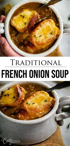 BEST ever French Onion Soup! After much testing, this is definitely the BEST French Onion Soup recipe you'll find, and it's easy to make too! Learn how to make perfectly caramelized onions for the most flavorful French Onion Soup ever! Best French Onion Soup, French Soup, Crockpot French Onion Soup, Homemade French Onion Soup, Pressure Cooker French Onion Soup Recipe, French Onion Soup Vegetarian, Panera French Onion Soup, Homemade Soup, Best Soup Recipes