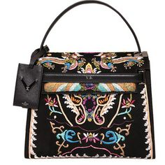 Valentino Garavani Suede and leather bag with embroidery