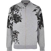 Grey floral placement print bomber jacket