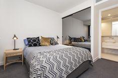 Melbourne Apartment Bedroom Interior - Ferrari Interiors Melbourne Apartment, Investment Property, Bedroom Apartment, Apartments, Ferrari, Garden Design, Interiors, Furniture, Home Decor
