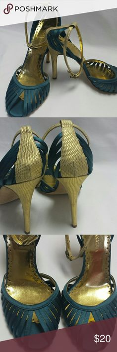 BCBG Maxazria 9 BCBG MAXAZRIA 9 ankle strap heels. Teal satin with gold accents. The straps and buckles are in excellent condition as well. BCBG  Shoes