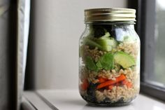 Deconstructed sushi in a jar