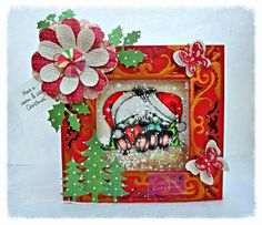 Dream Laine: Christmas Cuddles - Party Paws creation. Crafters Companion Party Paws Unmounted Rubber Stamp - Christmas Cuddles Spectrum Noir markers and pencils used: CR6, CR8, CR10, DR5, DG1, DG2, PP1, PP2, IG1, IG3, IG5, TB1, EB2, EB3, EB4, 25, 27, 32, 54, 65, 115, 117, 119, 120. Crafters Companion Diesire 'Create-a-Card' Metal Die - Decadence Crafters Companion Die'sire Dies - Beautiful Butterflies, Holly, Fir Trees Bebunni Christmas 6x6 Paper Pad.