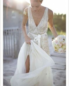 A sequin wedding dress is great for many wedding styles and themes and will make your outfit glam and shiny. 2015 Wedding Dresses, Wedding Gowns, Wedding 2015, Summer Wedding, Wedding Ceremony, Wrap Wedding Dress, Dresses 2014, Wedding Beach, Beach Weddings