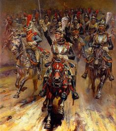 Charge of French Cuirassiers at the Battle of Essling.
