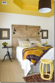Yellow and Grey Bedroom Rustic headboard #bedroom #headboard