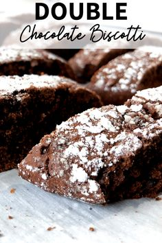 An easy Double Chocolate Biscotti Recipe that is perfect to serve with coffee or share as gifts during the holidays. | Chocolate Biscotti | Double Chocolate Biscotti | Biscotti Recipe | Valentine's Day Recipe Double Chocolate Biscotti Recipe, Chocolate Flavors, Chocolate Recipes, Yummy Recipes, Cookie Recipes, Yummy Food, Valentines Day Chocolates, Italian Desserts, Shaped Cookie