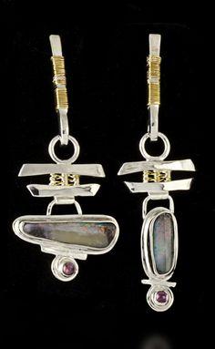 Cynthia Downs earrings  |  Australian boulder opals, pink tourmaline, 22k gold, fine & sterling silver.
