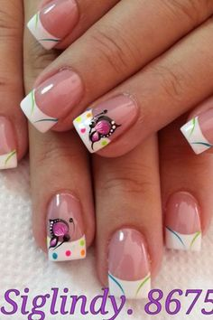 so beautiful for spring! - Page 7 of 15 - fashion-style. Creative Nail Designs, Toe Nail Designs, Creative Nails, Crazy Nails, Fancy Nails, Pretty Nails, Nagel Stamping, Butterfly Nail Art, French Tip Nails