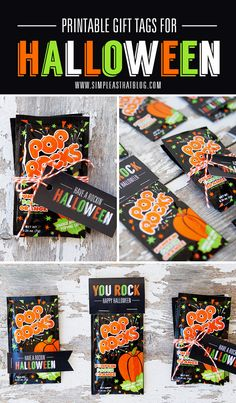 Halloween treats for the kiddos' classroom party. Pop Rocks Free Printable Gift Tags for Halloween Halloween Rocks, Halloween Goodies, Halloween Prints, Halloween Spider, Easy Halloween, Holidays Halloween, Halloween Party, Halloween Stuff, Halloween Class Treats