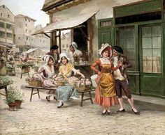 A Tryst At The Flower Market - Mariano Alonso-Perez Diego Rivera, Painter Artist, Artist Art, Art Ancien, Painted Cottage, Spanish Painters, Floral Artwork, Classic Image, Classic Paintings