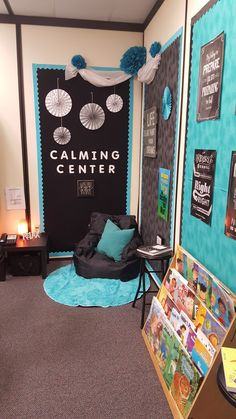 Counselor's Corner Calming Center – WorkOffice School Counselor Office, Counseling Office Decor, Middle School Counseling, Elementary Counseling, School Social Work, Counseling Activities, Classroom Activities, Special Education Classroom, School Classroom