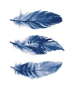 Feather Drawing, Watercolor Feather, Feather Art, Blue Feather, Watercolor Print, Watercolor Paintings, Art Plastique, Painting Techniques, Printable Wall Art