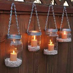 Hanging Mason Jar Garden Lights DIY Lids Set by TheCountryBarrel I can do this for the backyard! Switch out candles for battery or LED candles. Hang from shepherds poles or from the tree. ideas 9 Inspiring Outdoor Spaces - My Craftily Ever After Mason Jar Lanterns, Hanging Mason Jars, Diy Hanging, Led Candles, Mason Jar Lamp, Hanging Lights, Hanging Candles, Outdoor Candles, Candle Lanterns